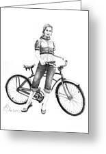 Bicycle Girl Greeting Card