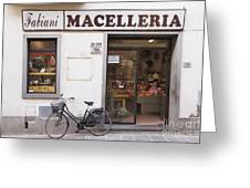 Bicycle In Front Of Italian Delicatessen Greeting Card