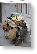 Bicycle Loaded With Food, Delhi, India Greeting Card