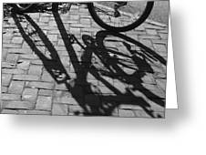 Bicycle Shadows In Black And White Greeting Card