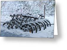 Bicycles In The Snow Greeting Card