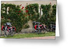 Bicycles Parked By The Wall Greeting Card