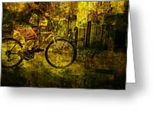 Bicyclist On The Move No. Ol4 Greeting Card