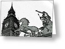 Big Ben And Boudica Charcoal Sketch Effect Image Greeting Card