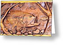 Big Mouth Bass Carving Greeting Card