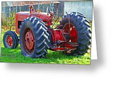 Big Red Rubber Tire Tractor Greeting Card