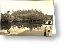 Big Sky And Dock On The River In Sepia Greeting Card