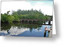 Big Sky And Docks On The River Greeting Card