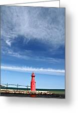 Big Sky Over Algoma Lighthouse Greeting Card by Mark J Seefeldt