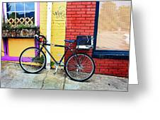 Bike Leaning On The Colorful City Walls Of Asheville  Greeting Card