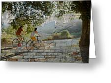 Bikes And Bricks Greeting Card