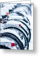 Bikes In Snow Greeting Card