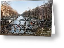 Bikes On The Canal In Amsterdam Greeting Card