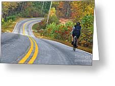 Biking In Autumn Greeting Card