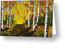Birch Trees And Road Fall Painting Greeting Card