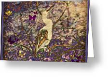 Bird And Butterflies Greeting Card