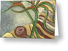 Bird Of Paradise Flowers And Fruits On A Carpet In Yellow Brown Green Greeting Card