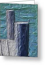 Bird On Pier Greeting Card