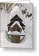 Birdhouse In Snow Greeting Card