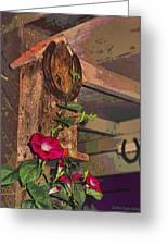 Birdhouse Morning Glories Two Greeting Card