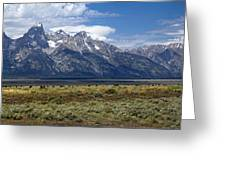 Bisons Grazing Under The Grand Tetons Greeting Card