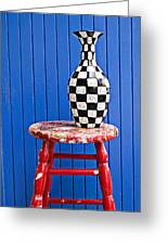 Blach And White Vase On Stool Against Blue Wall Greeting Card
