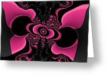 Black And Pink Fractal Butterfly Greeting Card