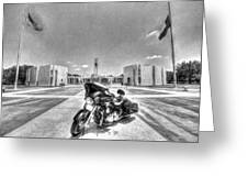 Black And White - Pgr At Houston National Cemetery Greeting Card