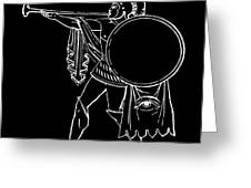 Black And White Ancient Greek Warrior Greeting Card