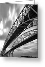 Black And White Blue Water Bridge Greeting Card
