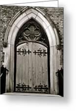Black And White Doorway Greeting Card