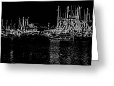 Black And White Fishing Boats Greeting Card