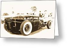 Black And White Hot Rod Greeting Card
