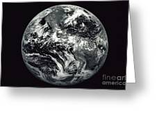 Black And White Image Of Earth Greeting Card