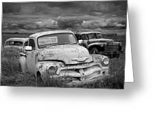 Black And White Photograph Of A Junk Yard With Vintage Auto Bodies Greeting Card