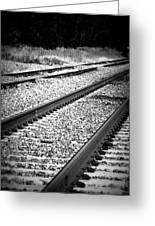 Black And White Railroad Tracks Greeting Card