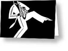 Black And White Saxophone Greeting Card