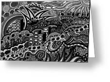 Black And White Seaside Greeting Card