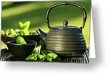 Black Asian Teapot With Mint Tea Greeting Card