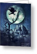 Black Bird Landing On A Branch In The Moonlight Greeting Card