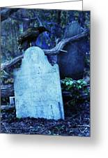 Black Bird Perched On Old Tombstone Greeting Card