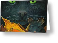 Black Cat And Mouse Greeting Card by Linda Apple