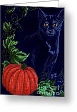 Black Cat Cross Stitch Greeting Card