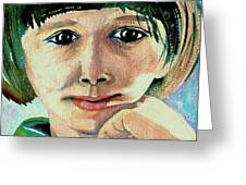 Black Eyed Young Girl Greeting Card
