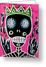 Black King Sugar Skull Angel Greeting Card