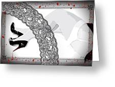 Black Lace And Killer Pumps Greeting Card