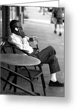 Black Man Relaxing On Sidewalks Of Asheville Greeting Card