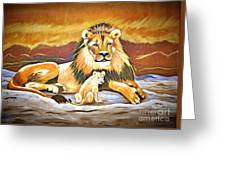 Black Maned Lion And Cub Greeting Card