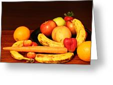 Black Plate And Fruit Greeting Card