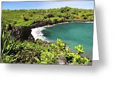 Black Sand Beach Maui Greeting Card